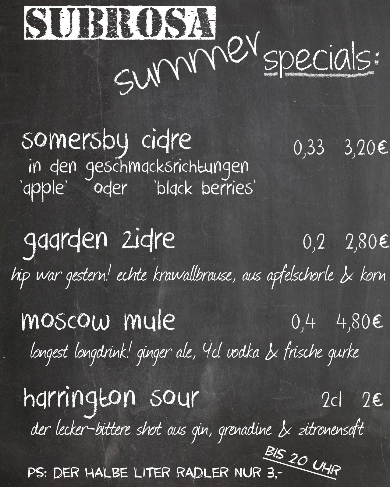 subrosa summer specials